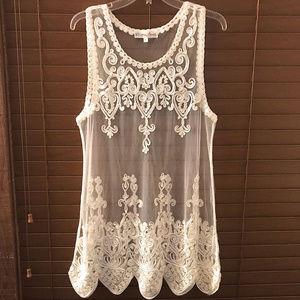 Pretty Angel Sheer Silk Blend Tunic Dress ~ A484